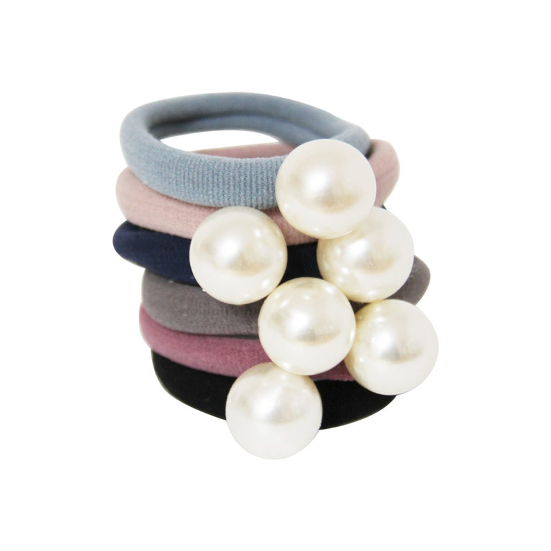 Set of 6 Statement Pearl Hair Ties image 0