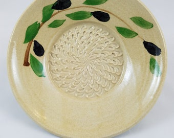 stunning vintage French porcelain hand painted small garlic grater