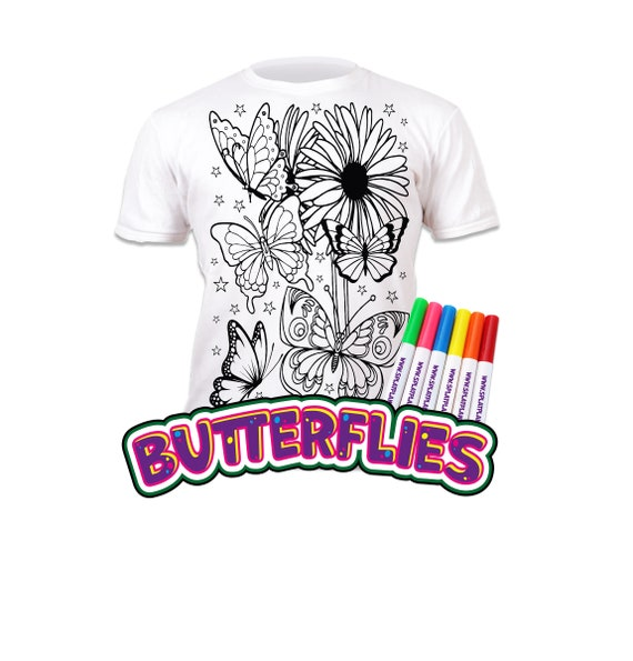 Splat Planet Colour-in Football T-Shirt 10 Magic Pens-Colour-in and Wash Out