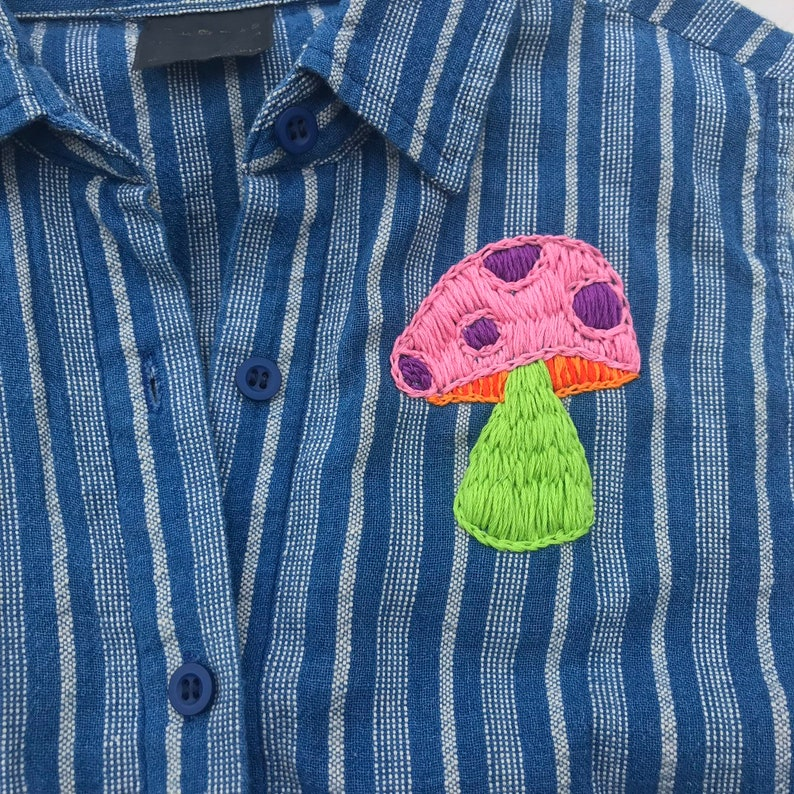 Magic Mushroom Hand Embroidered Button Up Shirt  Small