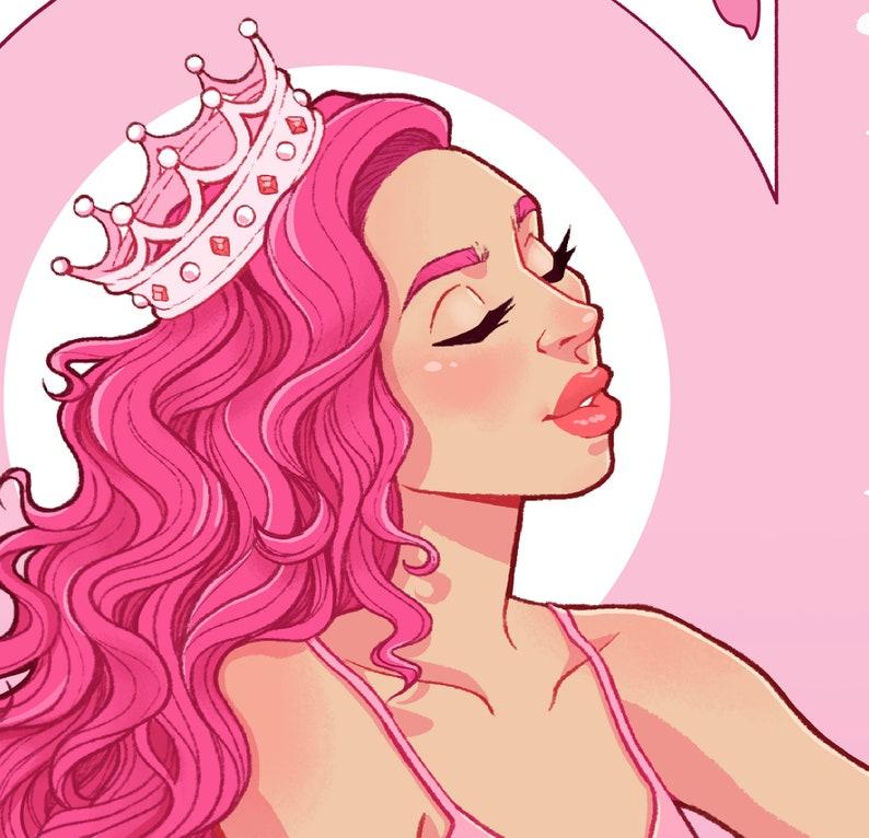 Pink Gin Girl Art Nouveau Print