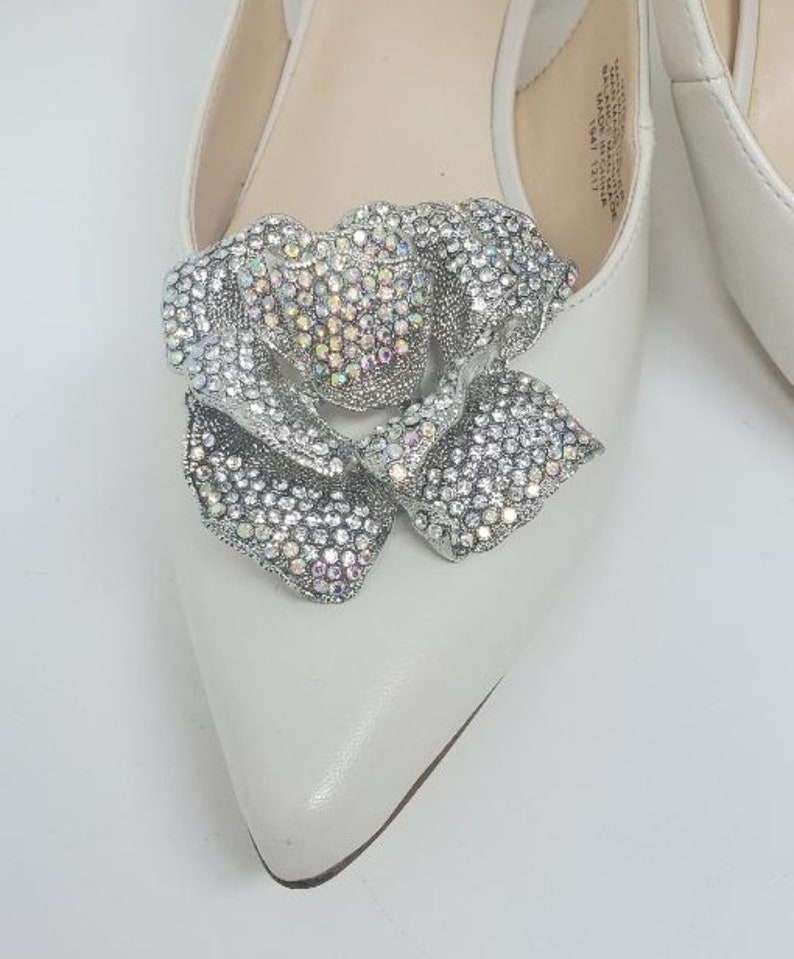 Shoe Accessories Clips for Shoes Silver Color Rose Rhinestone Shoe Clips