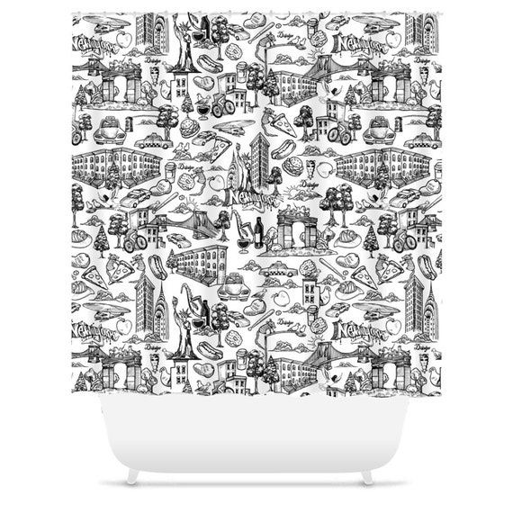 New York City Toile Shower Curtain Nyc Shower Curtain Etsy