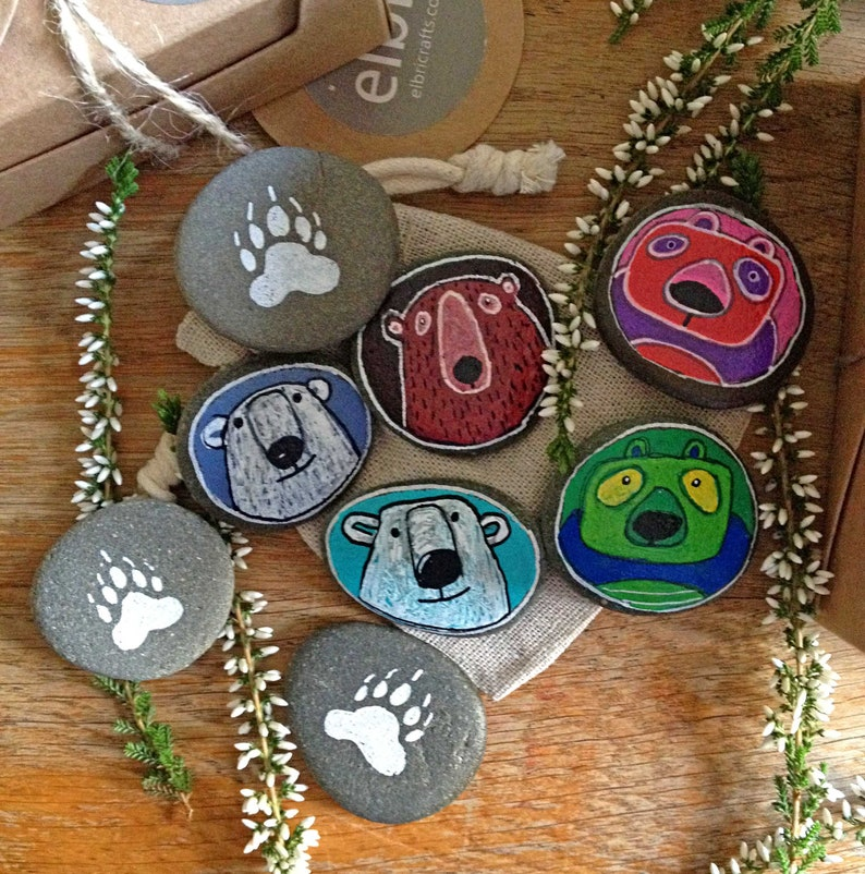 Ideal Christmas stocking filler Hand painted Pebble Pets to collect or trade Pair of Bear Buddies