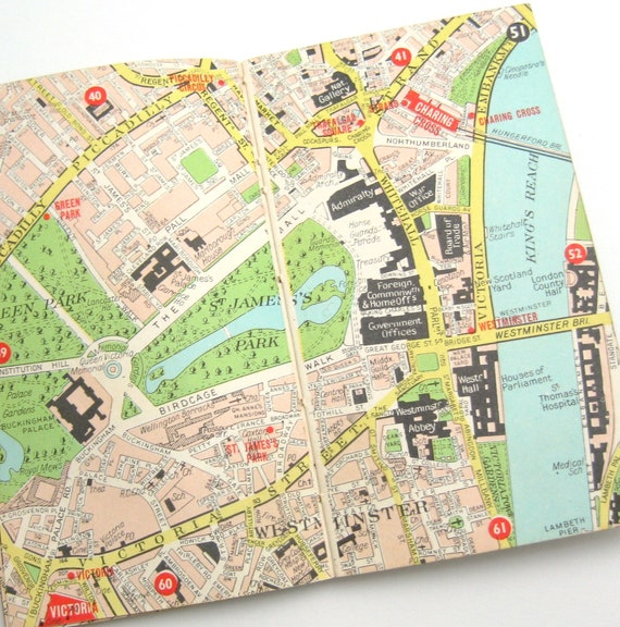 London Map Guide.Vintage London Map Book Pocket Guide To London 1970s Map Graphics Collectible Maps Collage Supply Pastel Vintage Map Map Art