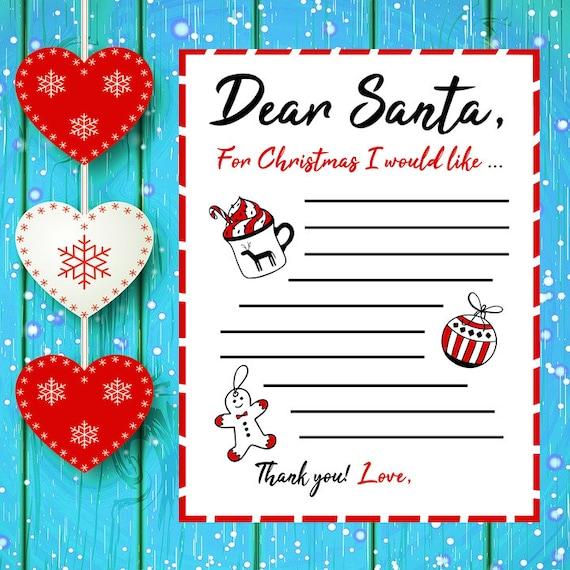 Printable Christmas List Santa List Dear Santa Holiday Wish List Color Black And White 8 5 X 11 Inches Hi Res Jpg And Png