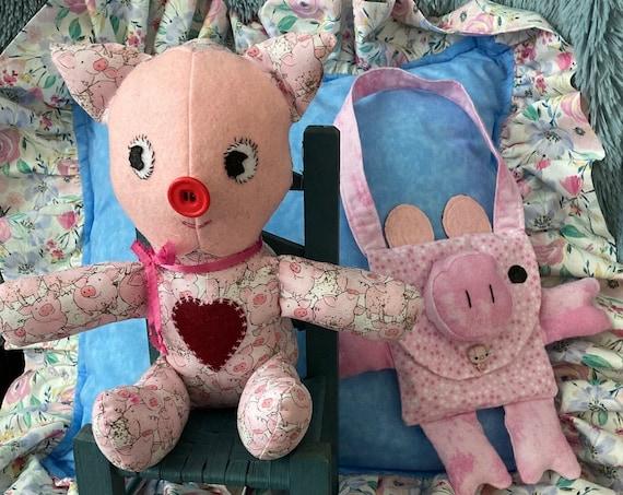 Petunia Piggy and Purse, Stuffed Pig Doll, Purse, Handmade