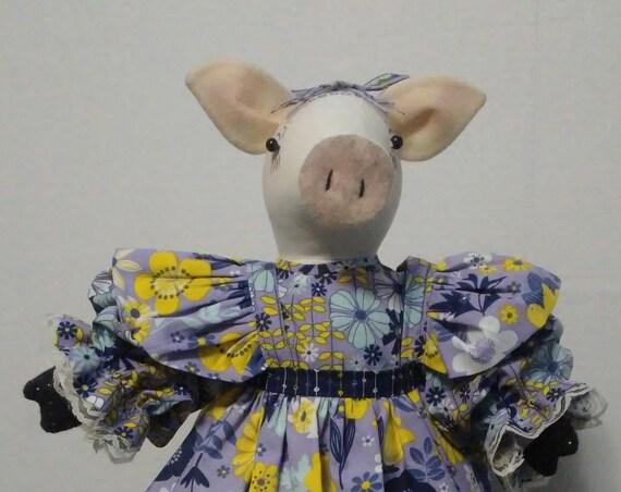 Pancetta, 18 inch Girl Pig Handmade Doll