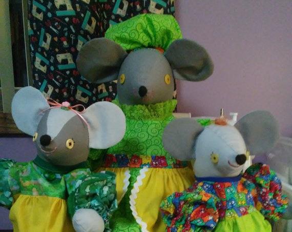 The Cheesar Family of Mice Stuffed Animal Dolls