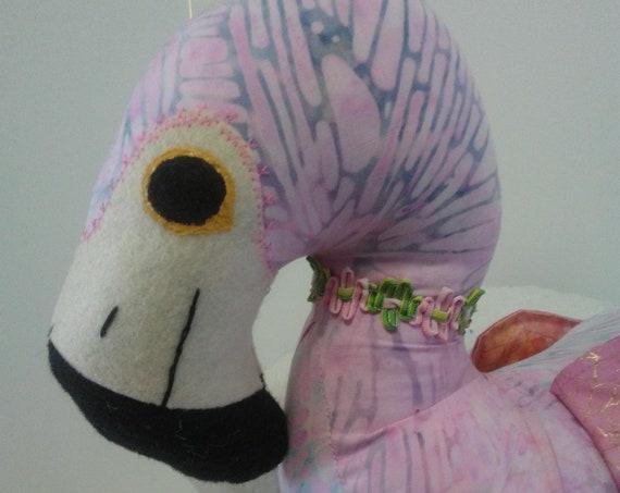 Lulu, 22 inch Handmade Pink Flamingo Doll