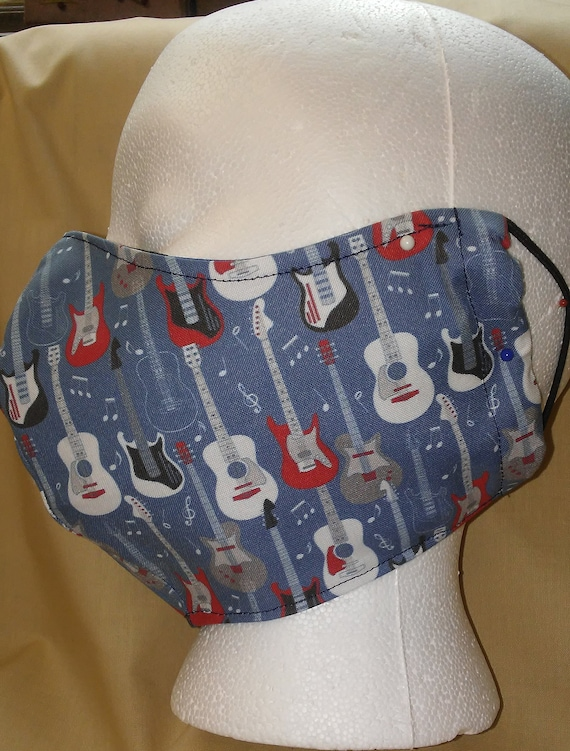 Face Mask, Double Layer,  Filter Pocket/Nose Wire, Adult L/XL, Reusable (Loops or Ties)