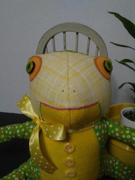 Lollihops, 12 inch Handmade Stuffed Frog Doll