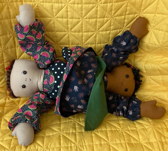 Octavia and Tessa, 20 inch Handmade Topsy Turvey African American/Multi-racial Doll
