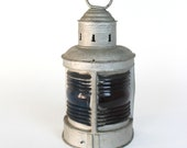 Port and Starboard Triplex Ship Lantern. Antique Industrial Nautical Blue and Red Lamp. (C318)