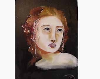 David Igou Original Oil Canvas Board. Original Oil Painting. Portrait Painting. Red Head Portrait. Contemporary Portrait. Contemporary Art.