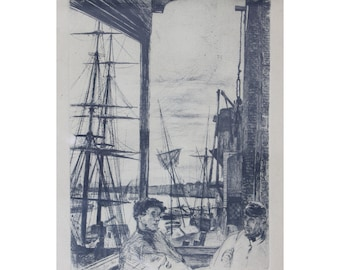 Whistler Original. Etching and Drypoint. Rotherhithe, Thames Set. 1860. James Abbott McNeill Whistler.
