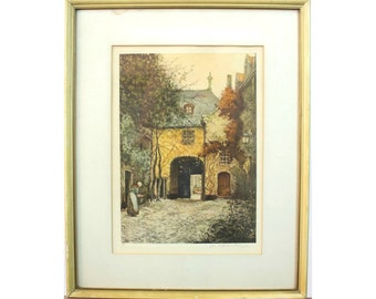 ETCHING Print Signed Dated Numbered 40s 50s 60s  Scandinavian Style Home Office Decor Art mcm 48x34 Mid Century ALF OLSSON Swedish 1925
