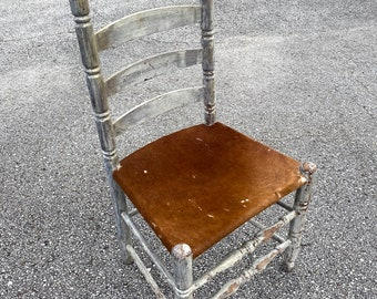 Vintage Dining Chair. Shabby Chic. American Rustic. Cow Hide. Dining Chair. Antique Accent Chair. Western Decor. Cowboy Style. Real Cow Hide