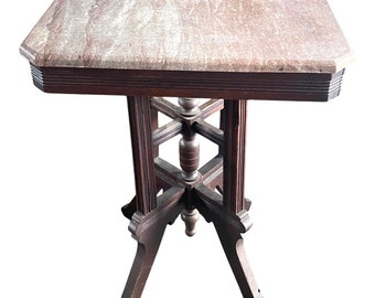 Antique Eastlake Table. Victorian Table. Marble Top Table. Antique Accent Table. Antique Marble Table. Side Table. Game Table. End Table