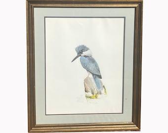 Mid Century Print. Vintage Bird Print. Signed Limited Edition. Moriarty Bird Print. Kingfisher. Framed Bird Print
