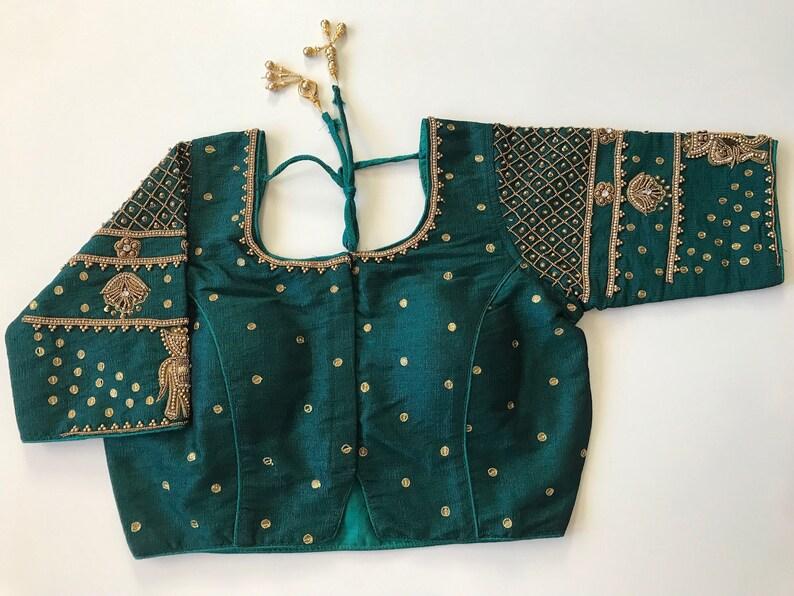 Readymade Indian bridal designer saree blouse with aari work   women\u2019s sari top wedding saree blouse with elephant design