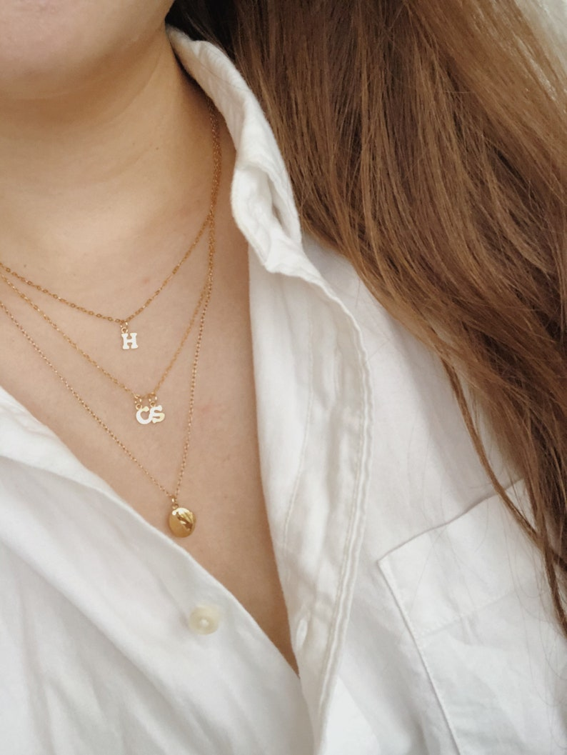 14k gold filled simple chain layering necklace flat cable chain STORY INITIAL NECKLACE simple initials choker necklace custom initial,