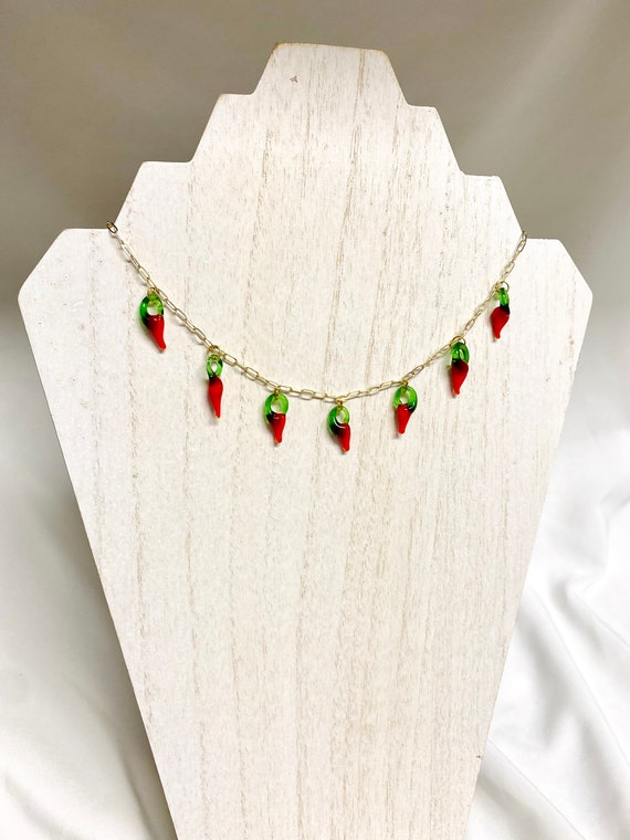 gifts for her lampwork chili pepper necklace red vegetable accessories chili pepper beaded glass hot chili choker trendy red jewelry