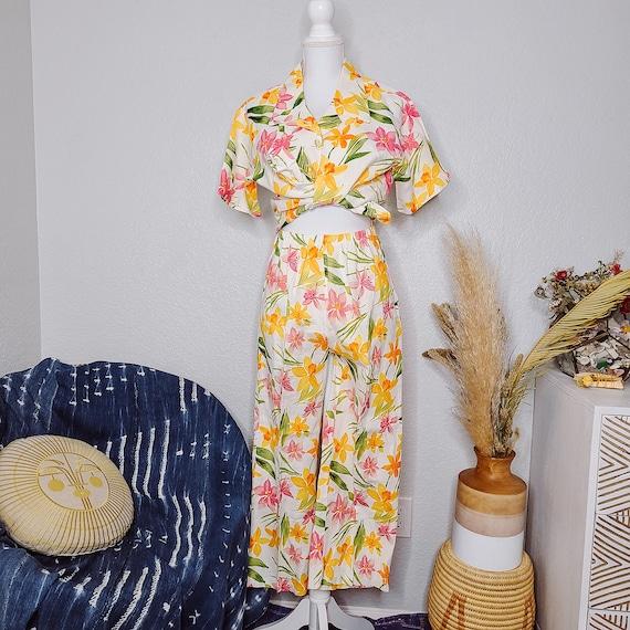 100% Linen Floral Matching Set