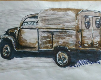 Car Drawing Etsy