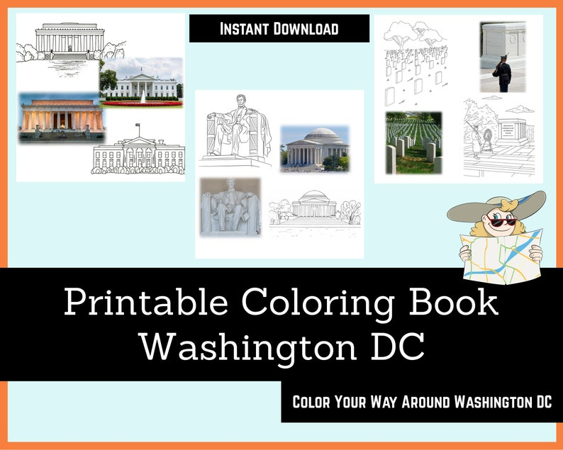 Printable Coloring Book  Washington DC  for Children and image 0