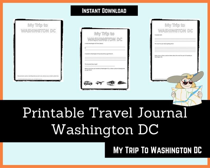 Printable Travel Journal for Kids  Washington DC  Journal image 0