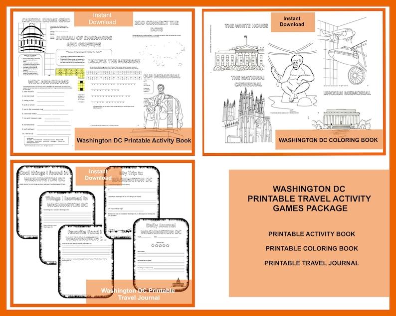 Printable Travel Games Package : Washington DC image 0