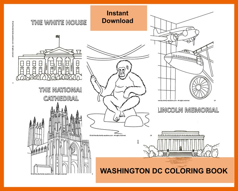 Coloring Book for Kids and Adults : Washington DC image 0