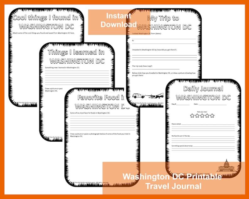 Printable Travel Journal for Kids : Washington DC image 0