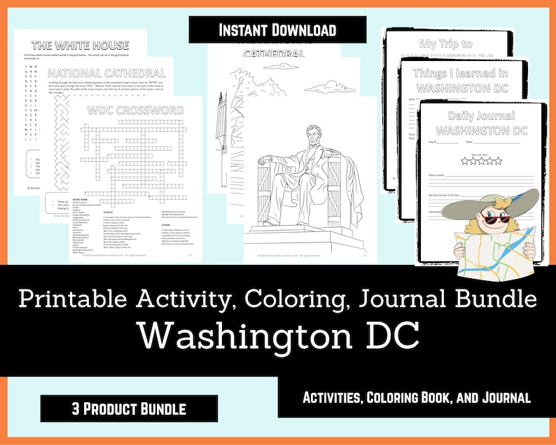 Printable Activities For Kids Coloring Book Journal Bundle  image 0