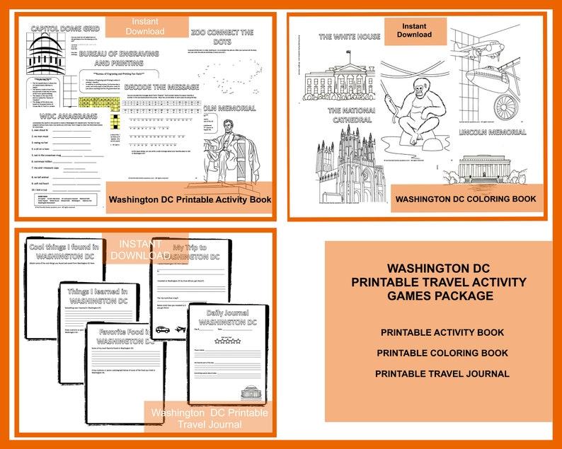 Washington DC Travel Games Package Printable image 0