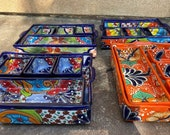 Talavera 5 Piece Casserole dish that is appetizer tray orange multicolored Beautiful Mexican Pottery, Great for Fiesta 39 s and Potlucks
