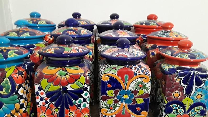 Talavera 3 Piece Canister Set Handcrafted Folk Art Etsy