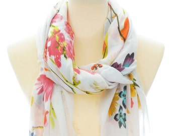1c64b1edf6a79 Parrot Flower White Scarf, Square Viscose Scarf, Spring Summer Autumn Scarf,  Women Fashion Accessories, Women's scarves, Gifts for Her, 0214