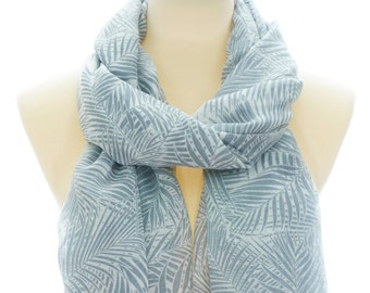 986a78d67 Leafs Gray Viscose Scarf, Leaf Scarf With Tassels, Spring Summer Fall Scarf,  Gifts For Her, Birthday Gifts, Gift Idea, Women's Scarf, 0133