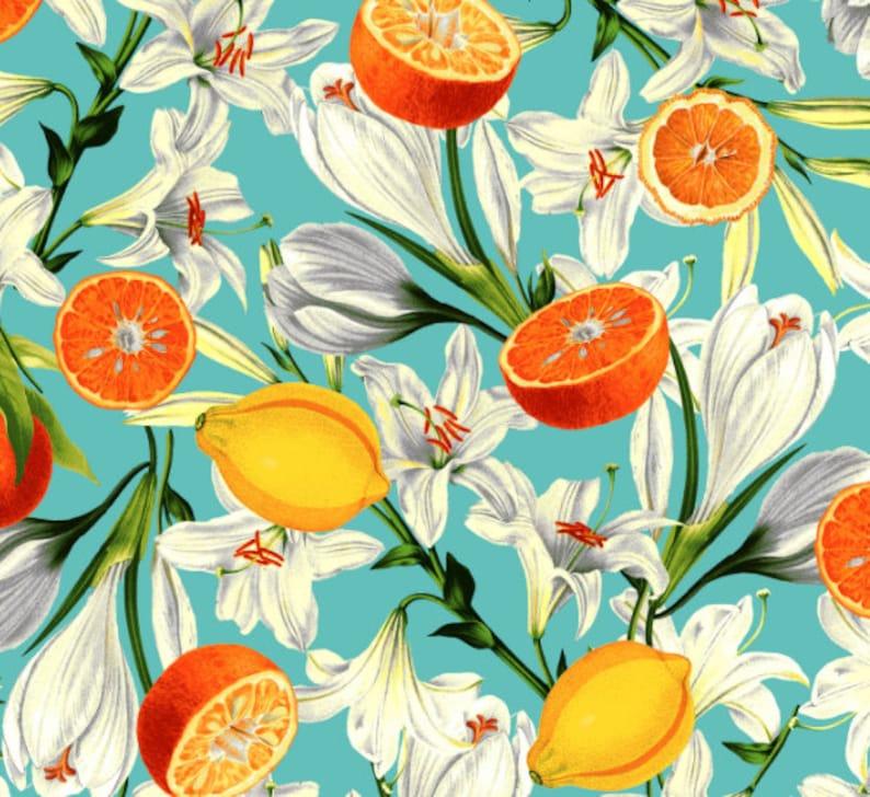by RJR Fabrics Lilies with Citrus Citrus Garden