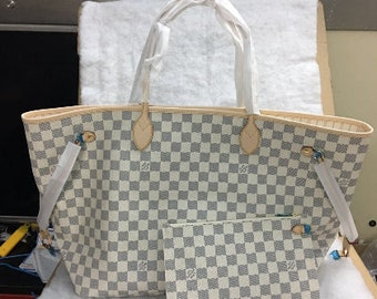 4586bad75da3 Used Item Made in France For Louis Vuitton Neverfull GM Damier Azur bag  Aunthentic Purse 40 x 33 x 20 cm Date Code