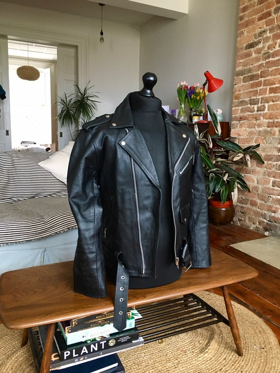 Vintage 90's Black Leather Biker Jacket-Size Mediu