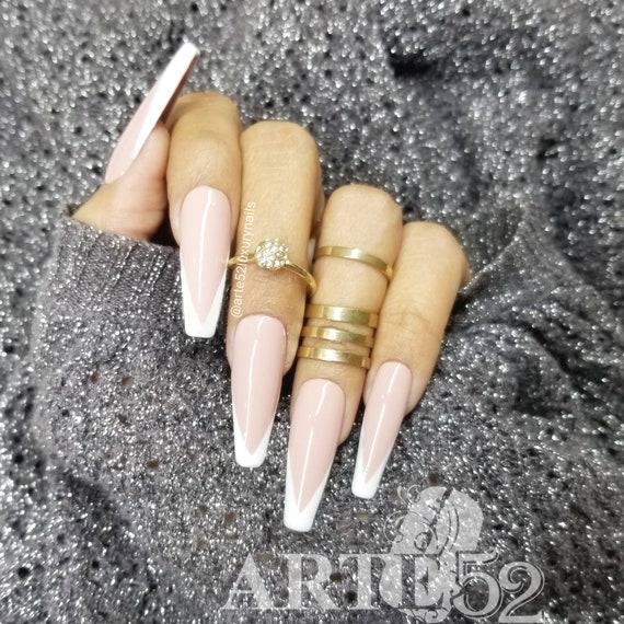French V shape white/nude Press on nails , Long Fake Nails , Acrylic Nails  , False Nails , Custom nails , coffin nails , Arte52LuxuryNails