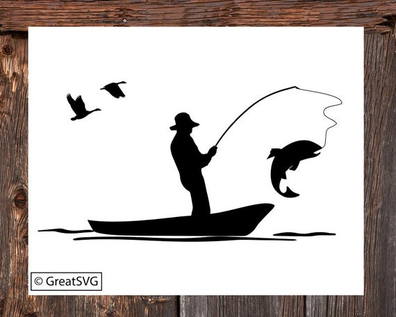 Fisherman Svg Trout Fishing Svg Fishing Boat Svg Trout Etsy