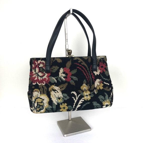 Vintage Needlepoint Tapestry Handbag, Tapestry Sat