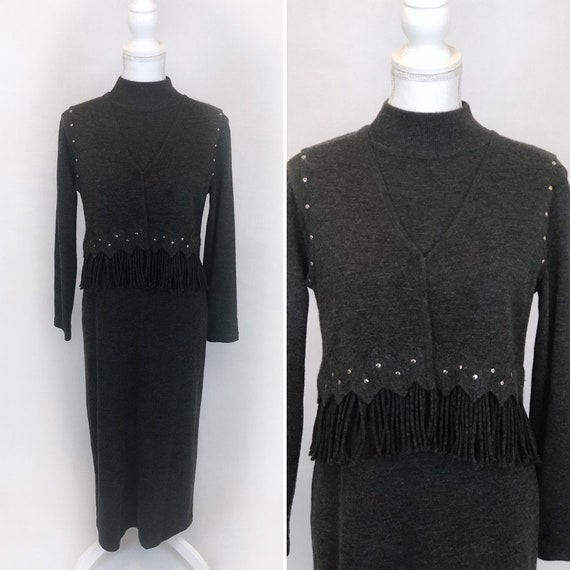 Vintage Maggie London Dress Set, Wool Maxi Dress,