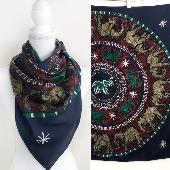 Vintage Harve Benard Silk Scarf, Elephant Scarf, V