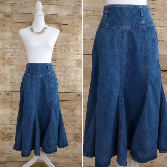 Vintage Lizwear Denim Skirt, Denim Maxi Skirt, Boh