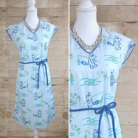 Vintage Vested Gentress Dress, Fishing Racoon Prin